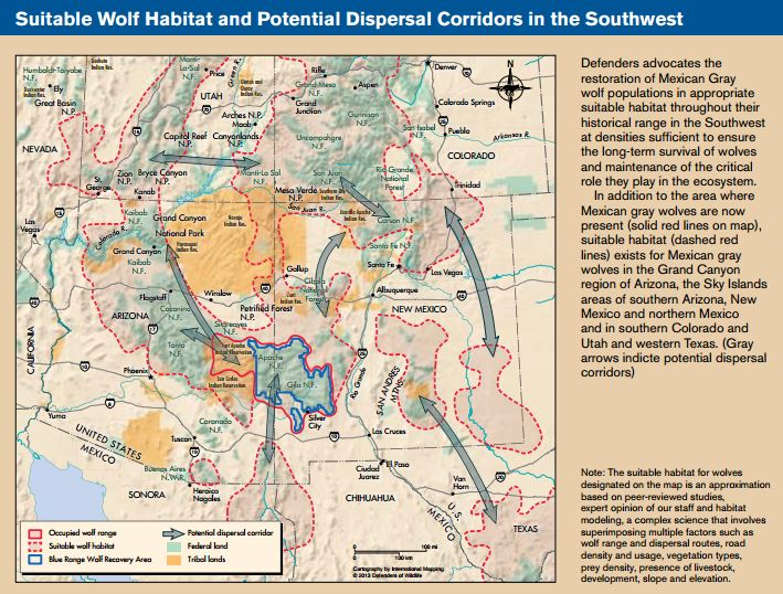 Wolves In The Southwest Defenders Of Wildlife - Map of southern colorado