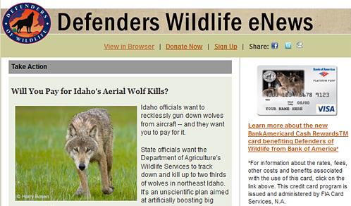 Defenders Wildlife eNews, March 2012